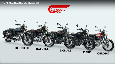 The five editions of the Royal Enfield Classic 350.