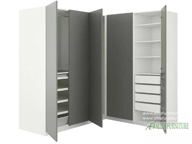 lemari pakaian minimalis sudut stone