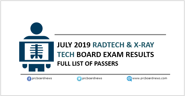 RESULT: July 2019 Radtech, X-Ray Tech board exam list of passers