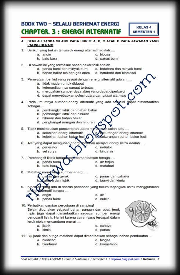 Download Soal Tematik Kelas 4 Semester 1 Tema 2 Subtema 3 Selalu