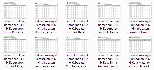 Kumpulan Jadwal Imsakiyah Ramadhan 1442 H Seluruh Kabupaten/Kota di Provinsi Nusa Tenggara Barat