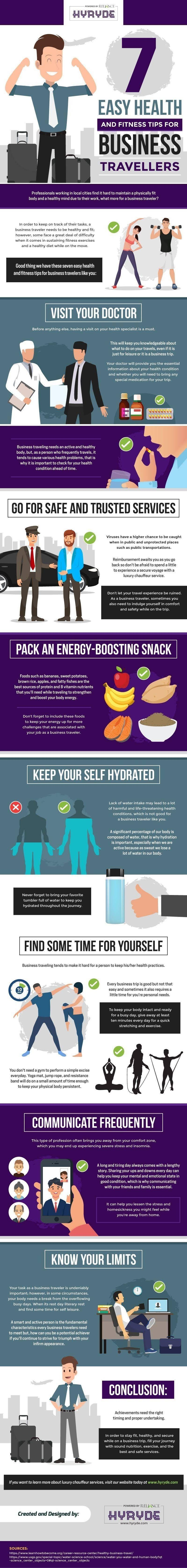 7 Easy Health and Fitness Tips For Business Travellers #infographic