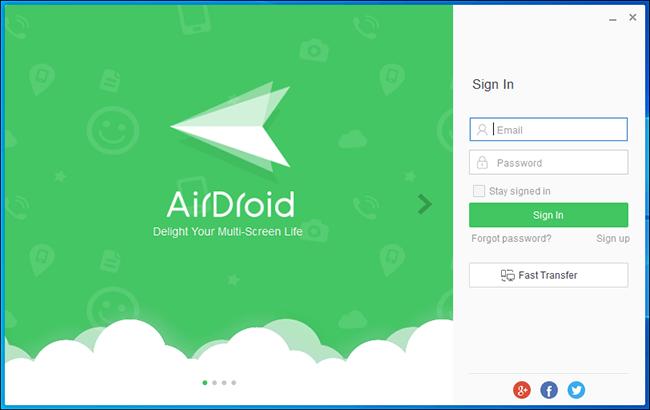 Airdroid للكمبيوتر شاشة تسجيل الدخول