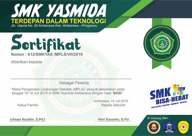 Design Sertifikat MPLS SMK Yasmida Ambarawa 2019