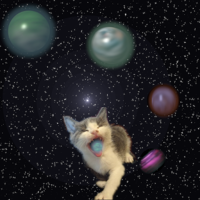 Kitten barfing up planets