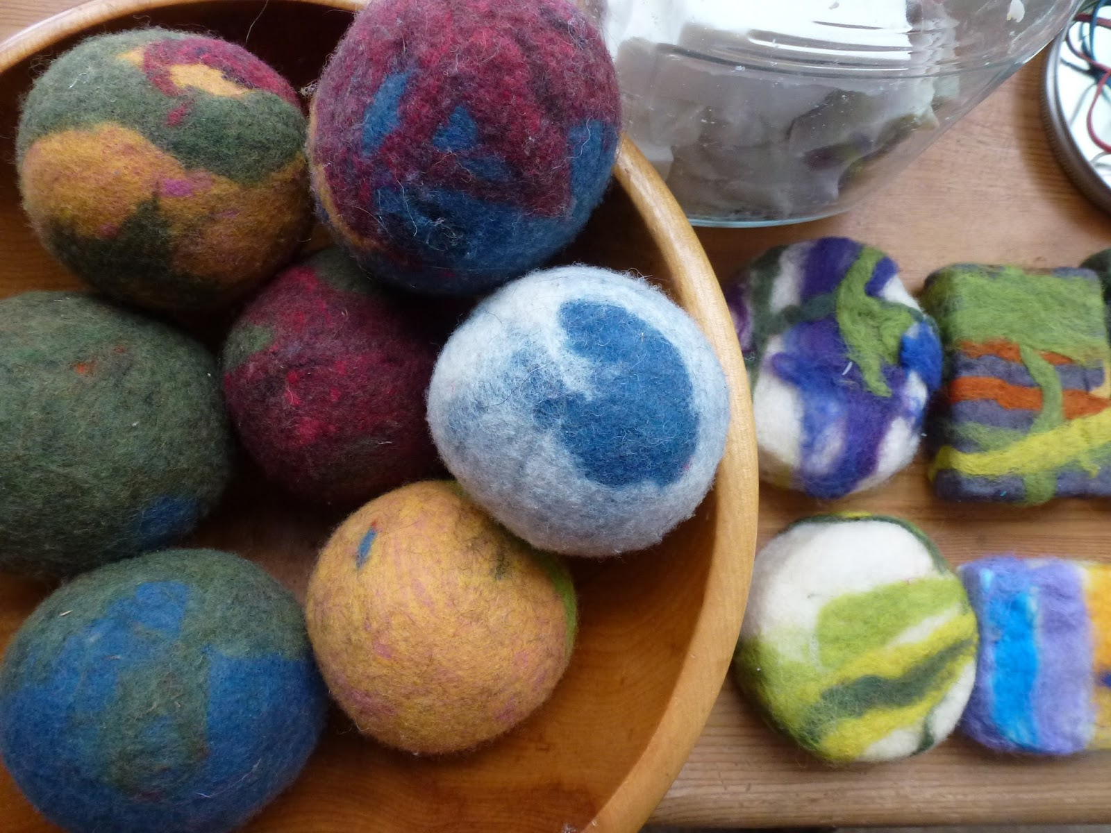 little city farm making felted soap wool dryer balls. Black Bedroom Furniture Sets. Home Design Ideas