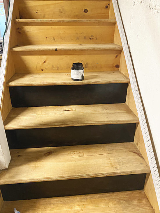 basement stairs with black risers