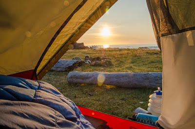View from camping tent of Iceland sunrise