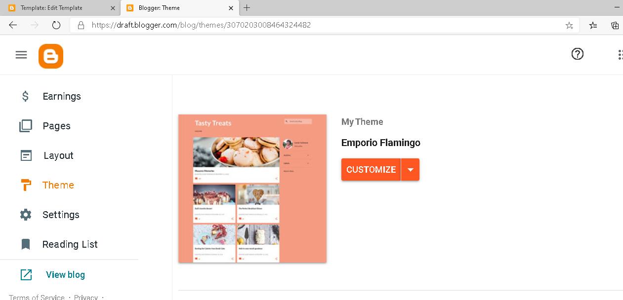 menu tema di dashboard blogspot