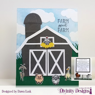 Farmer's Prayer, Stamp/Die Duos: Farm Friends, Custom Dies: Farm Fence, Barn, Double Stitched Squares, Squares, Clouds & Raindrops, Grass Hill, Grass Lawn