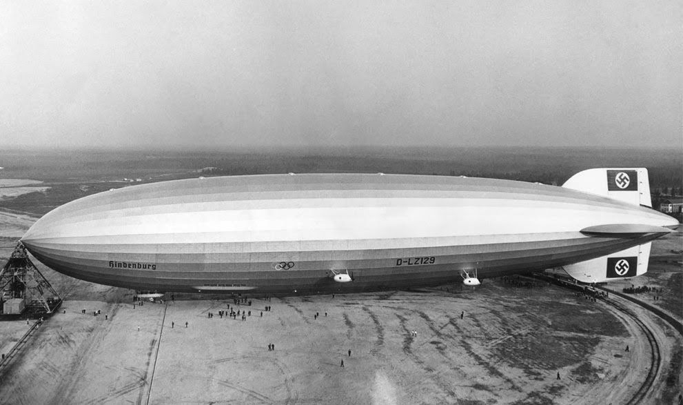 The giant German zeppelin Hindenburg, in Lakehurst, New Jersey, in May of 1936.