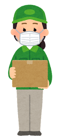 マスクを付けた配達員のイラスト(女性・笑顔)