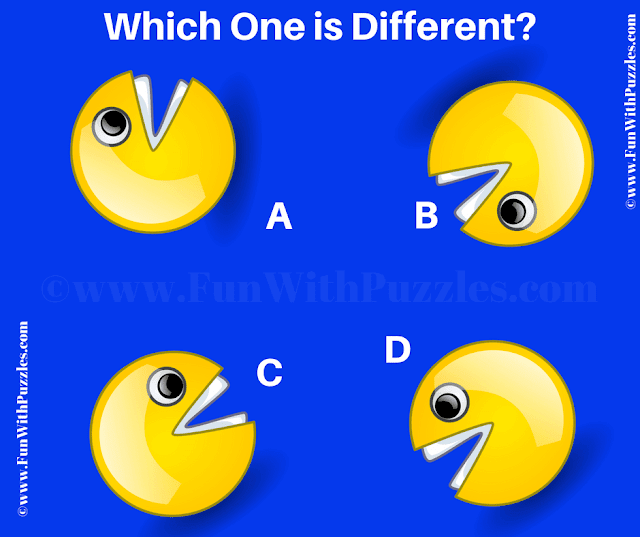It is Odd One Out Pacman Picture Puzzle in which your task is find which image is different from other three images.