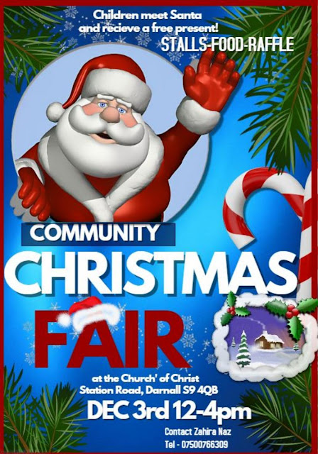 Christmas Fair at Church of Christ, Dec 3 12 till 4pm. Children meet Father Christmas and receive a free present, stalls, raflle