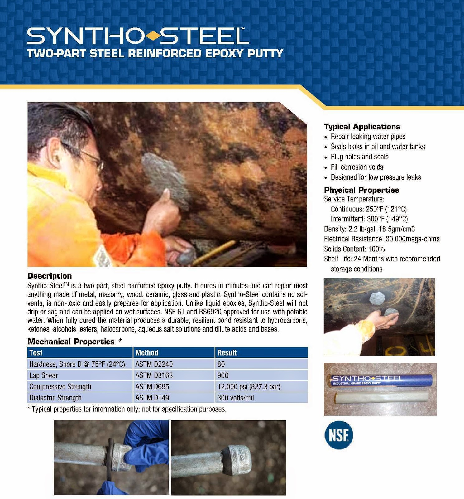 Syntho steel Reinforced Epoxy Putty for normal & high
