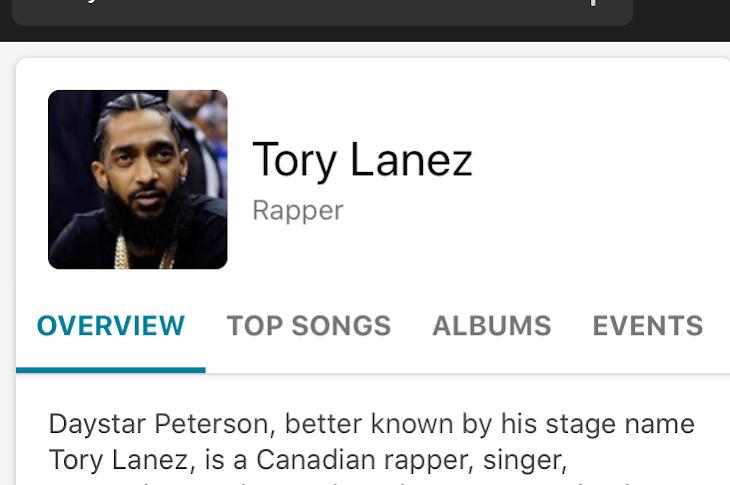 Bing Thinks Tory Lanez is Nipsey Hussle