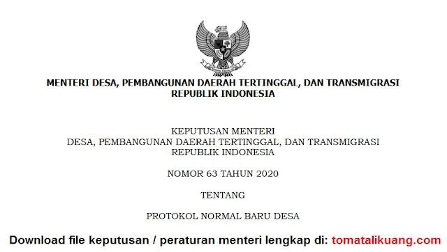 download kepmendesa pdtt no 63 tahun 2020 tentang protokol normal baru desa pdf tomatalikuang.com