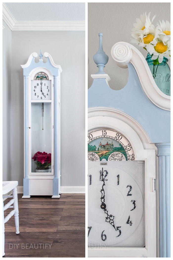 blue painted grandfather clock