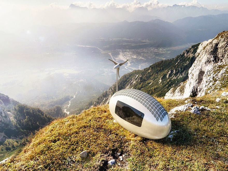 The Ecocapsule relies on wind and solar power, and collects rain water - Tiny Wind & Solar Powered Home Lets You Live Off The Grid Anywhere In The World