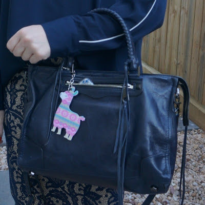 Rebecca Minkoff Regan Satchel Tote in moon with lace skirt Llama bag charm | away from the blue