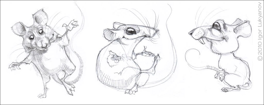 cute mice characters sketch