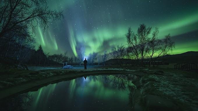 Aurora Boreal, Luzes, Noite, Paisagem, Natureza