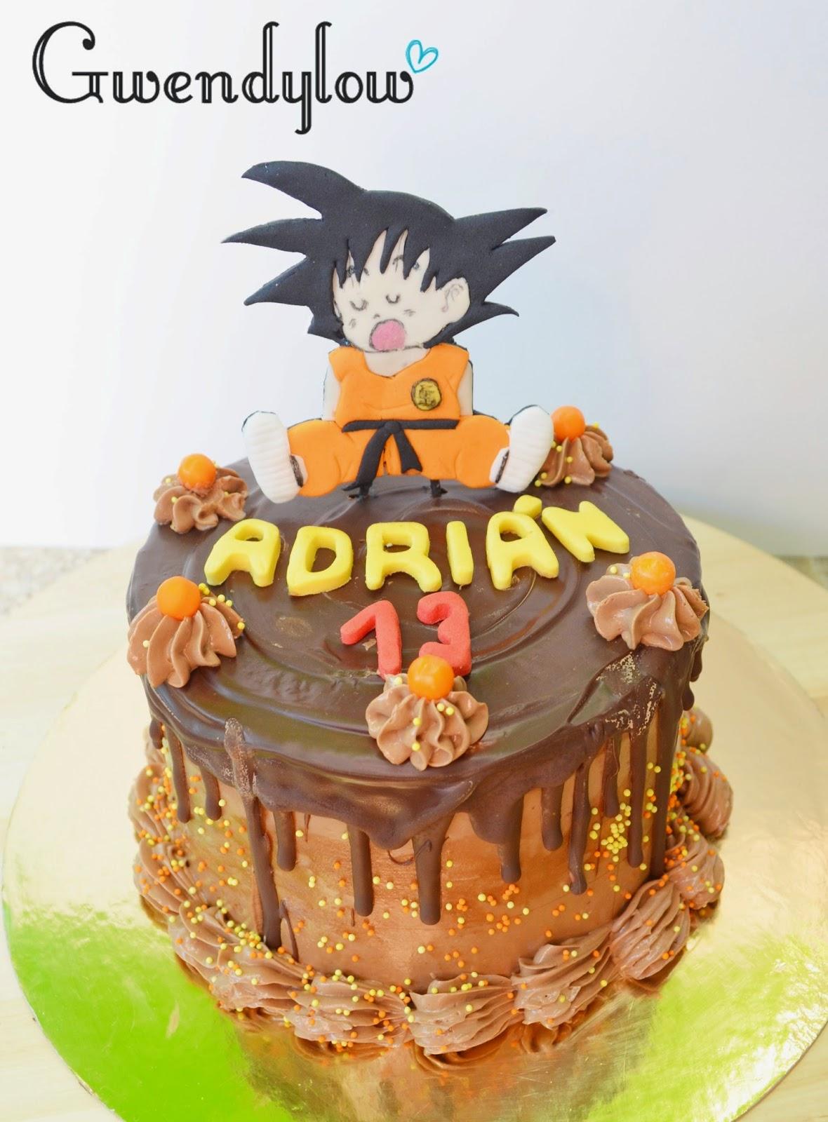 Tarta Chocolate Chorreante Con Topper De Goku Dragon Ball