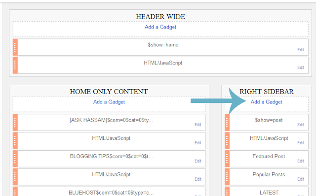 blogger layout add gadget