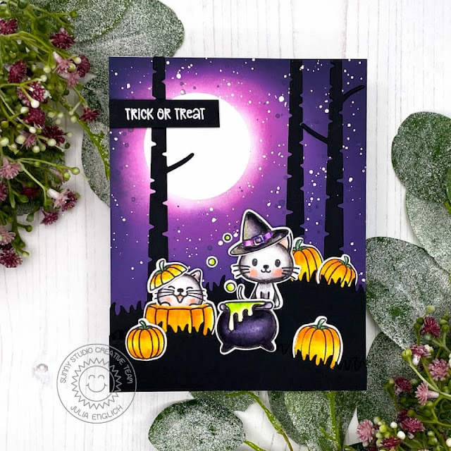 Sunny Studio Stamps: Bewitching Rustic Winter Dies Fall Friends Halloween Card by Julia Englich