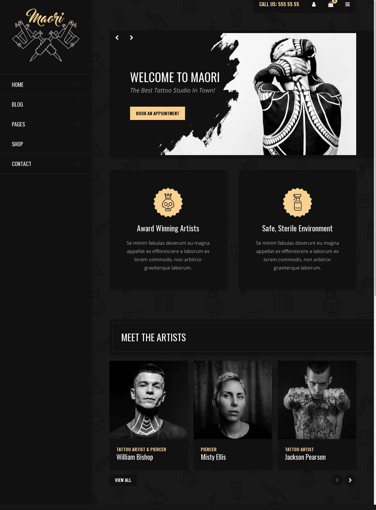 Maori  Tattoo Studio WordPress Theme