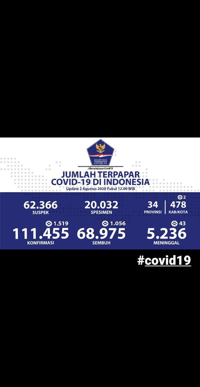 Jumlah Kasus Covid19 di Indonesia Tanggal 2 Agustus 2020