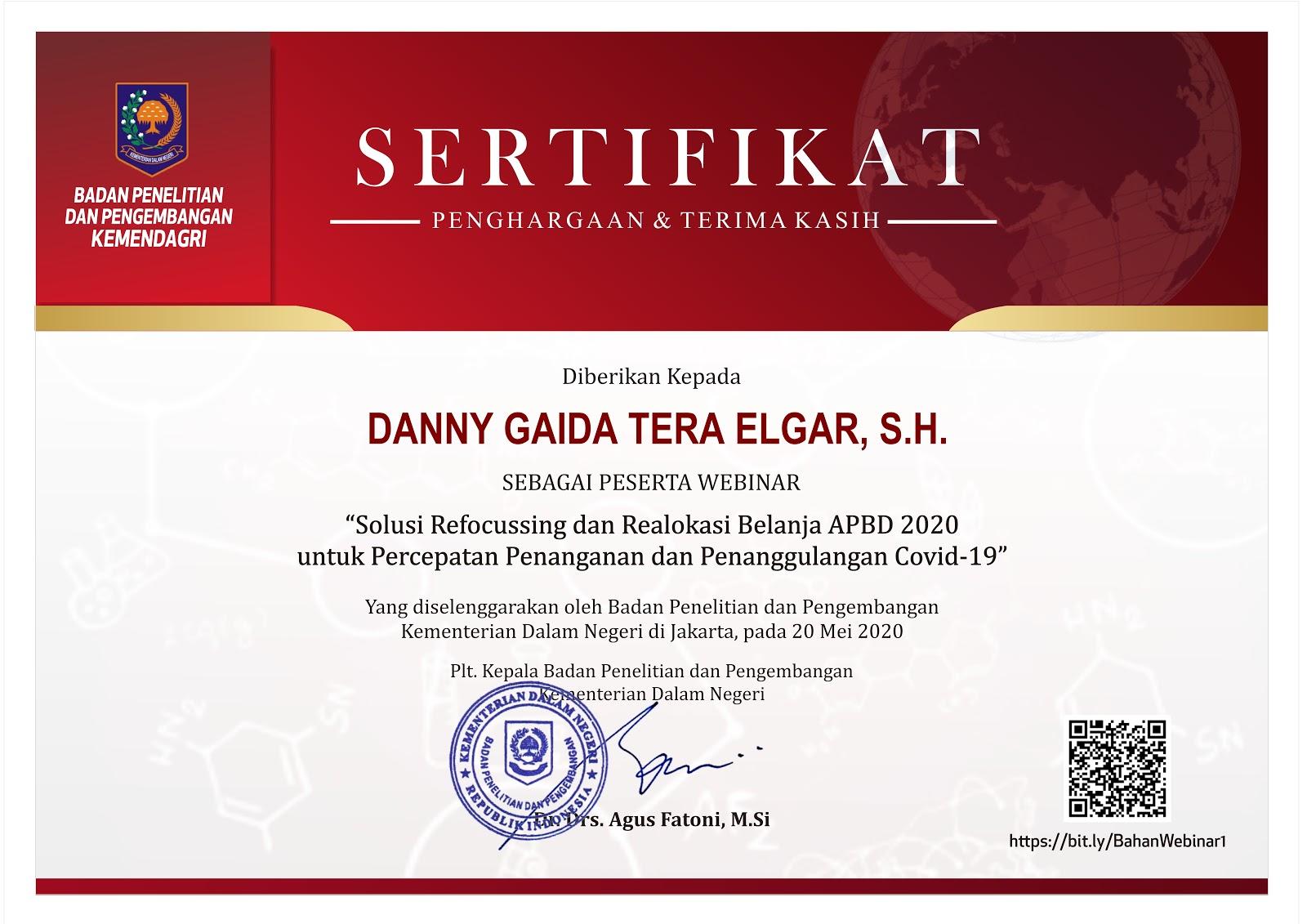 "Piagam Penghargaan Badan Penelitian dan Pengembangan Kementerian Dalam Negeri Republik Indonesia (Kemendagri RI) ""Solusi Refocussing dan Realokasi Belanja APBD 2020 untuk Percepatan Penanganan dan Penanggulangan Covid-19"""