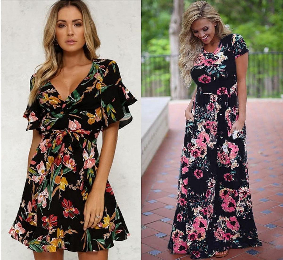 01f4d559e Hay una sección de vestidos estupenda para ir fresquitas este verano. A mí  me han gustado estos dos con estampado floral y fondo negro.