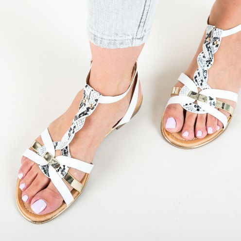 Sandale albe cu talpa joasa cu snake print