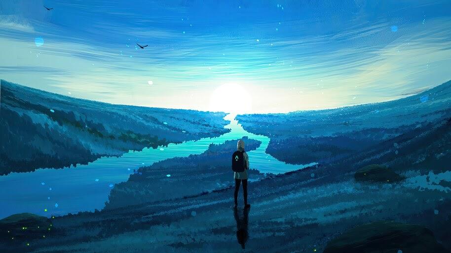 Sunrise, River, Horizon, Scenery, Travel, Alone, Digital Art, 4K, #6.2511