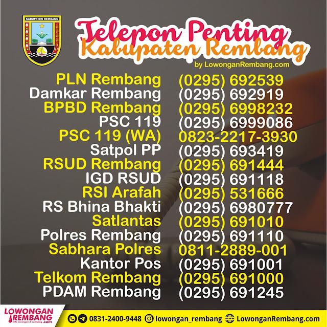 Kamu Wajib Simpan Telepon Penting Kabupaten Rembang Ini, Jangan Nunggu Keadaan Darurat