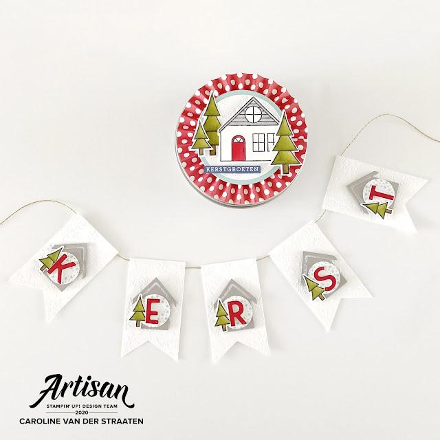 Kerst slinger met opbergdoosje, christmas banner, Trimming the Town suite