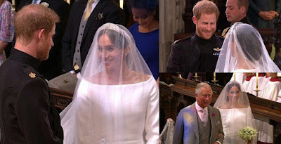 Prince Harry smiles as his bride, Meghan arrives in a Givenchy dress