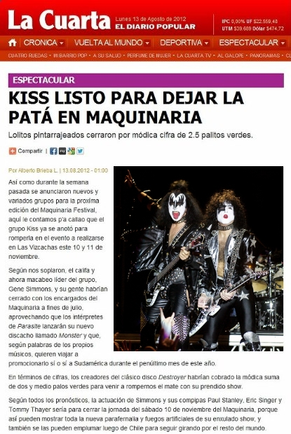 KISS EN VIVO BLOG DE AMÉRICA DEL SUR: Diario La Cuarta ...