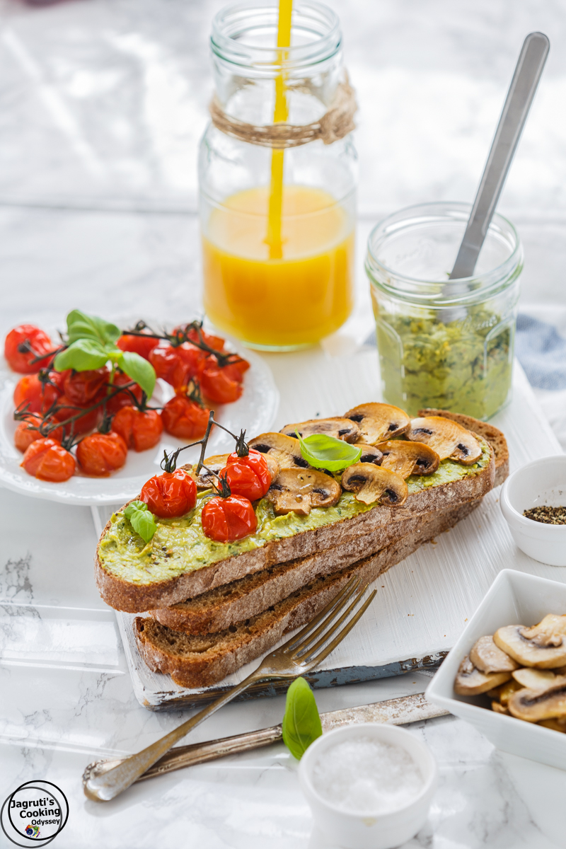 Pistachio & Avocado Butter toast with Roasted Mushroom and Tomato-Jagruti's Cooking Odyssey