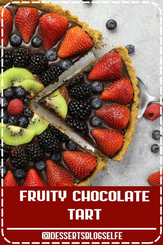No Bake Fruit Pizza Chocolate Tart – simple and decadent fruit tart that's unbelievably beautiful and delicious. It has a graham cracker crust and smooth creamy chocolate filling, topped with fresh fruits. All you need is a few simple ingredients: graham cracker, butter, chocolate, heavy cream and fresh fruits. A simple dessert your whole family will be obsessed with. Perfect for summer parties. Quick and easy, dessert recipe. vegetarian. Video recipe. #DessertsBlogSelfe #No Bake #FruitPizza #chocolate #SummerDesserts