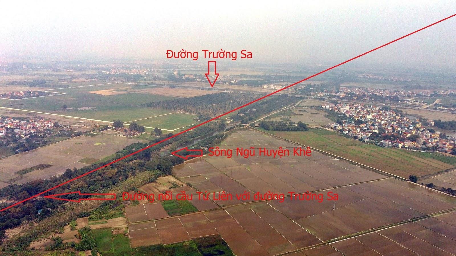 Đường dẫn cầu Tứ Liên chạy cắt ngang đường Trường Sa đến đường cao tốc Hà Nội - Thái Nguyên.