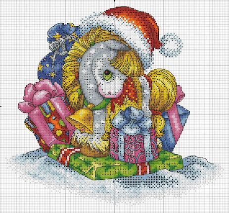 Schema punto croce Natale con il pony