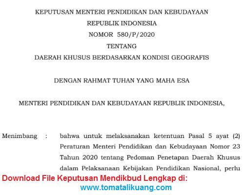 KEPUTUSAN MENTERI PENDIDIKAN DAN KEBUDAYAAN REPUBLIK INDONESIA NOMOR 580/P/2020 TENTANG DAERAH KHUSUS BERDASARKAN KONDISI GEOGRAFIS; tomatalikuang.com