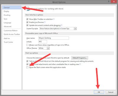 mematikan start screen di ms office 2013