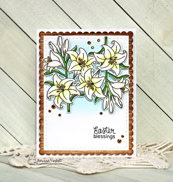 Easter Blessings by Larissa Heskett for Newton's Nook Designs using Easter Lily Stamp and Die Set and Frames and Flags Die Set  #newtonsnook #newtonsnookdesigns #easterlily #eastercards