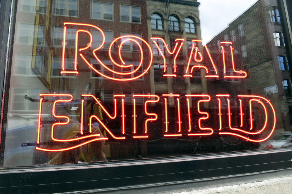 Royal Enfield neon sign.