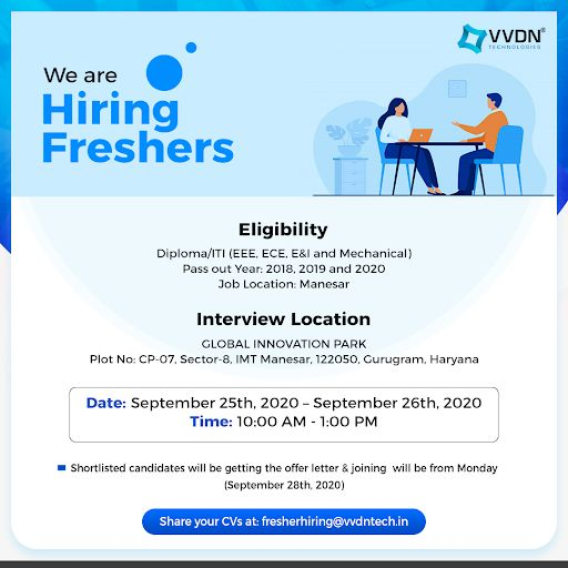 VVDN Technologies Looking for Freshers Diploma/ITI for Manesar Location.