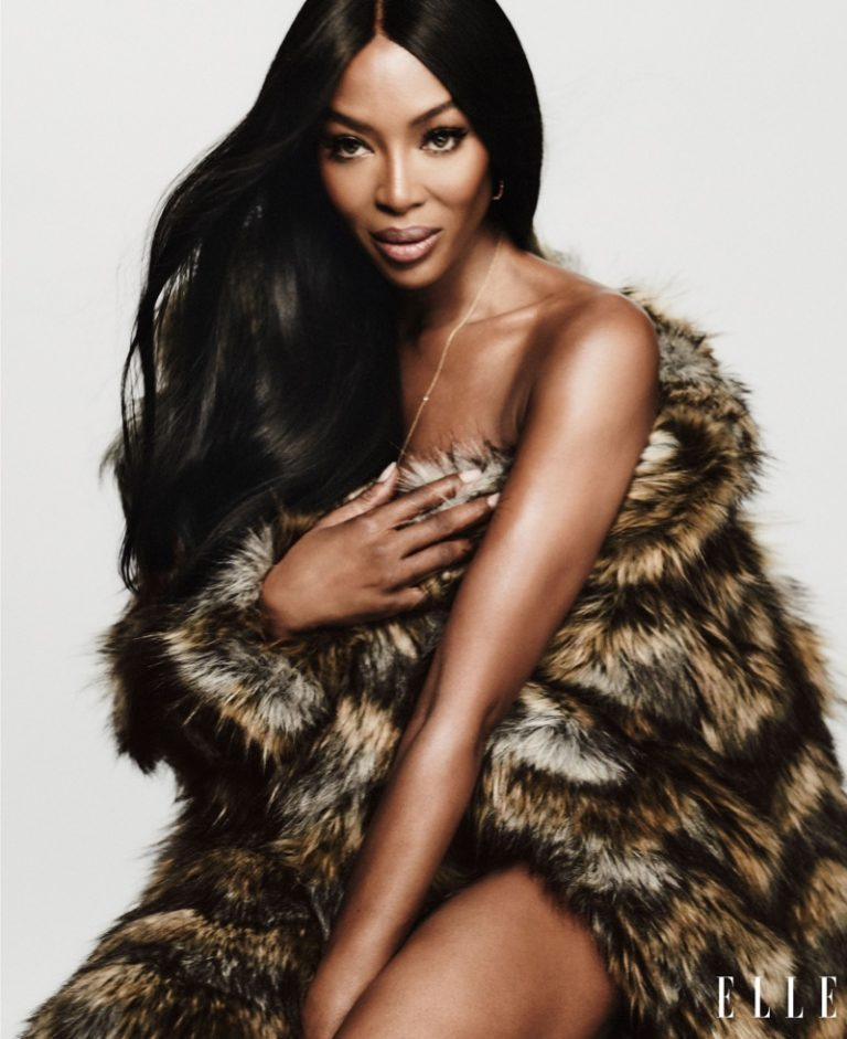 Supermodel Naomi Campbell wears faux fur look