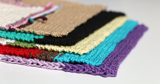 Stack of Five Knitted Cotton Dishcloths or Washcloths